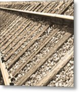 Train Tracks Sepia Triangular  Metal Print