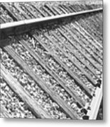 Train Tracks Triangular In Black And White Metal Print
