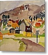 Train Whistle Stop Village  Metal Print