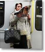 Train Woman Magazine Metal Print