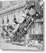 Train Wreck At Montparnasse Station Metal Print