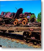 Train Wreckage On Flat Car Metal Print