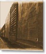 Trains 12 Albumen Border Metal Print