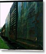 Trains 12 Cross Process Border Metal Print