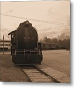Trains 3 Sepia Metal Print