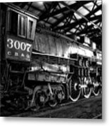 Trains 3007 C B Q Steam Engine Bw Metal Print