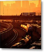 Trains At Sunrise Metal Print