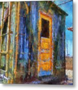 Trains Box Car Yellow Door Pa 02 Metal Print