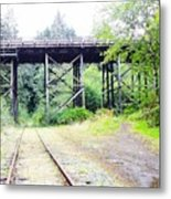 Trains Over And Under Metal Print