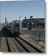 Trains Passing The Home Of The Chicago White Sox Metal Print
