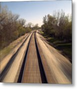 Trains Power Approaching The Crossing Metal Print
