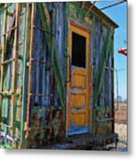 Trains Wooden Box Car Yellow Door Metal Print