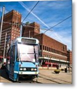 Tram In Front Of Oslo City Hall Metal Print