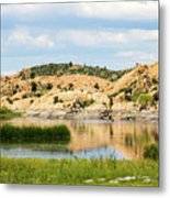 Tranquil Willow Lake Metal Print