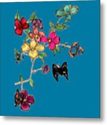 Transparent Flowers And Butterflies In Color Metal Print