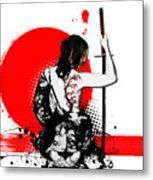 Trash Polka - Female Samurai Metal Print