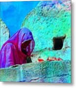 Travel Exotic Woman On Ramparts Mehrangarh Fort India Rajasthan 1e Metal Print