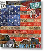Travel The Usa One Plate At A Time License Plate Art By Design Turnpike Metal Print