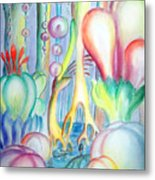 Travel To Planet Of Ball-shaped Flowers Metal Print