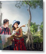 Traveler Finding Next Camping Point By A Map Metal Print