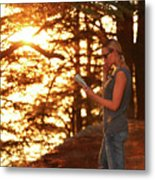 Traveler Woman In The Forest Metal Print