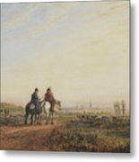 Travelers On The Road To Lancaster Metal Print