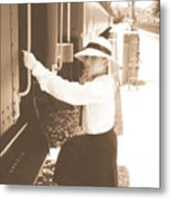 Traveling By Train - Sepia Metal Print