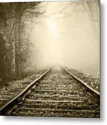 Traveling On The Tracks Antique Metal Print