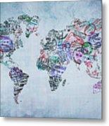 Traveler World Map Metal Print