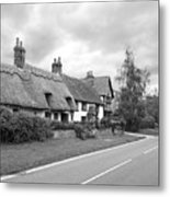 Travellers Delight - English Country Road Black And White Metal Print