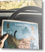 Travelling Tourist With Map Of Tasmania Metal Print