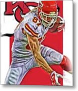 Travis Kelce Kansas City Chiefs Oil Art Metal Print