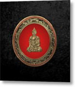 Treasure Trove - Gold Buddha On Black Velvet Metal Print