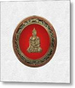 Treasure Trove - Gold Buddha On White Leather Metal Print
