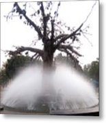 Tree And Fountain Metal Print