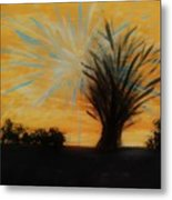 Tree And Lightning Metal Print by Marie Bulger