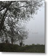 Tree And Moored Boat Metal Print