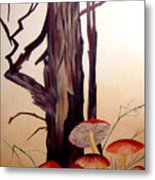 Tree And Mushrooms Metal Print