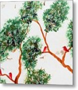 Tree And Red Birds 2 Metal Print
