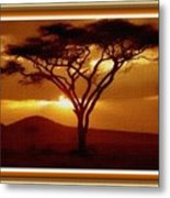 Tree At Sunset. L B With Decorative Ornate Printed Frame. Metal Print