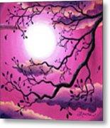 Tree Branch In Pink Moonlight Metal Print