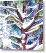 Tree Branches Covered By Snow In Winter Metal Print