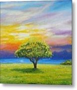 Tree By The Beach Metal Print