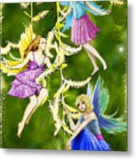 Tree Fairies On The Weeping Willow Metal Print
