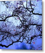 Tree Fantasy In Blue Metal Print