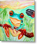 Tree Frog And Butterfly Metal Print by Nick Gustafson