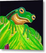 Tree Frog On A Leaf With Lady Bug Metal Print by Nick Gustafson