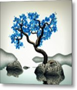 Tree In Blue Metal Print