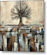 Tree In Brown And Gold Landscape Metal Print