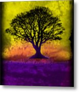 Tree Of Life - Yellow Sunburst Sky Metal Print by Robert R Splashy Art